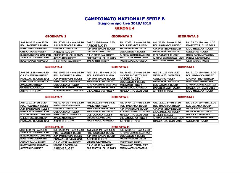 Calendario Serie B 18 19.Calendario Serie B Messina Rugby